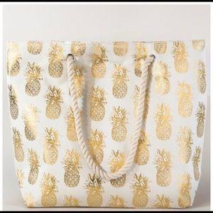 Handbags - Pineapple Gold Metallic Rope Handle Tote